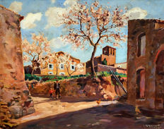 J.Humet (Catalan School, first half of the 20th century) - Rural scenery