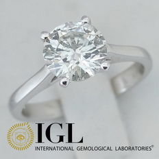 IGL 1.22 ct F/SI1 Round Brilliant Cut Diamond Engagement Solitaire Ring - 14kt gold - size 52