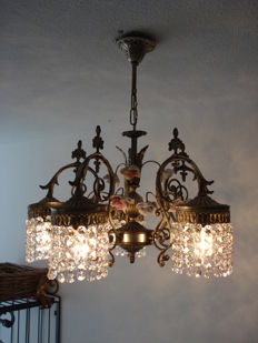 A metal chandelier set with crystal and porcelain roses, Belgium, 20th century
