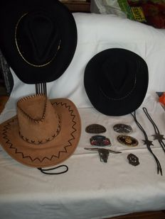 Five American buckles, 3 cowboy hats, 2 bolos and a sherrif star - USA - 2nd half of the 20th century