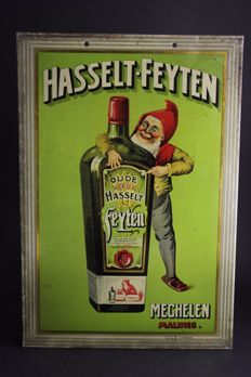 Metal advertising - Hasselt Feyten liqueur (Mechelen) - pre 1940