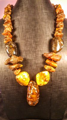 Genuine Baltic amber cognac and honey necklace of rough and polished beads, 171 grams