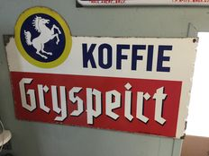 Emaille reclamebord koffie Gryspeirt 1967