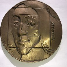 Eric Claus (1953) by bronze foundry Argentor - cast medal in bronze: Spinoza Double Portrait