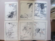 Lot of 6 woodcuts by Kono Bairei - Japan - 1881 or 1884