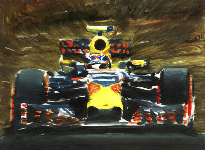 Max Verstappen Red Bull Renault Rb12 F1 Car Original Oil Painting On