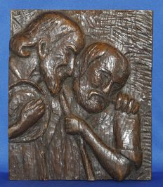 19th century wood carving of 2 Biblical figures - France