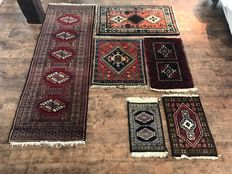 Beautiful hand-knotted Persian carpets. 5 pieces + 1 beautiful Persian runner.