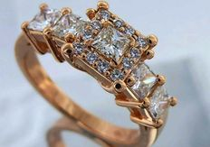 Golden ring set with princess cut diamonds  total 1.20 ct