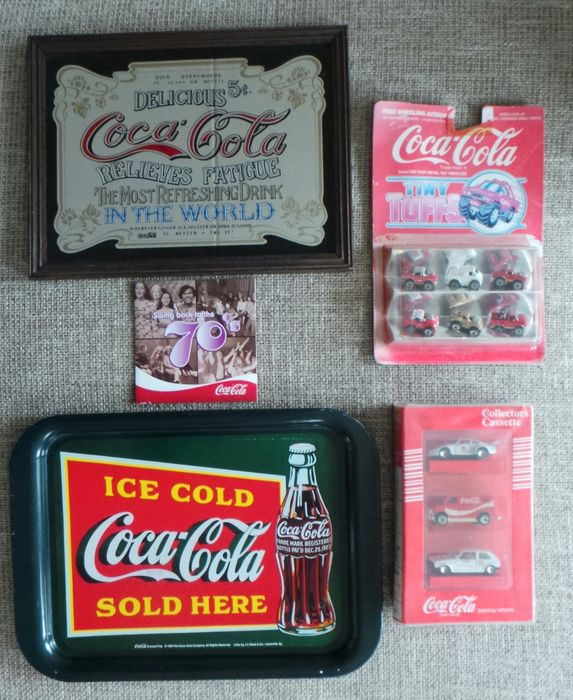 5 Coca Cola items - tray/CD/Collector's Cassette/Edocar with Porsche Turbo Rally, Chevy Blazer Van, VW Golf Rally, Tiny Tuffs - 1979/2009