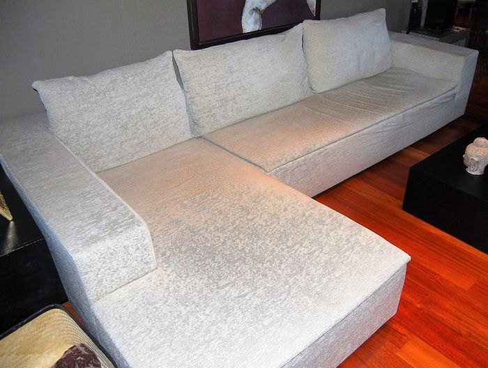 ARMANI CASA, sofa and chaise-longue GREMBO model with beige Talbot upholstery, Italy, approx 2008