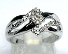 0.15 ct. Diamond ring 925 silver size 53/16.8mm