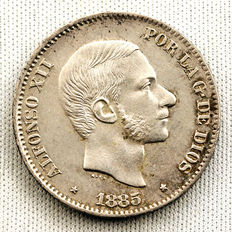 Spain - Alfonso XII - 50 cents of peso in silver - 1885 - Manila
