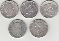 Kingdom of the Two Sicilies – lot of 5 silver coins (1834-1859)