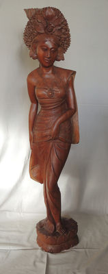 Large wood carving - standing woman  - Bali - Indonesia
