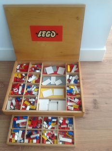 Assorted - Wooden Lego box with contents