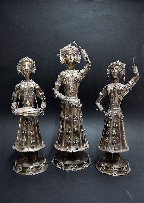 Three silver statues - India - Mid 20th Century