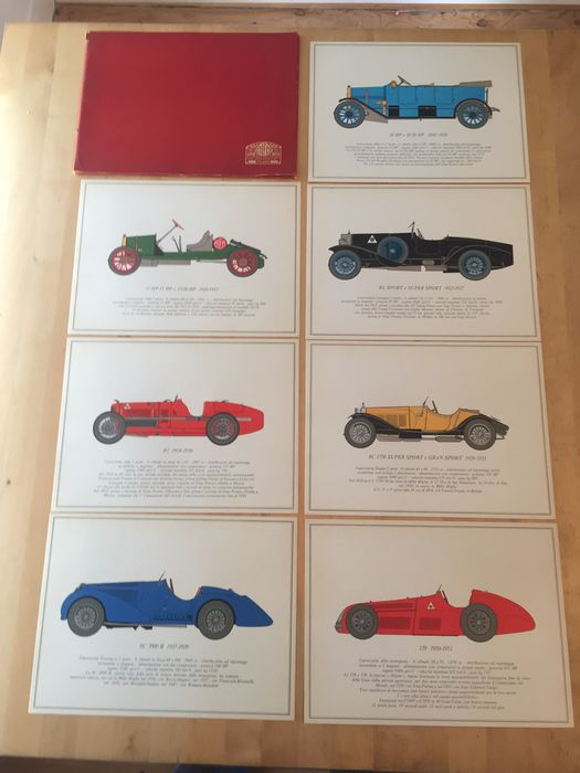Vintage Alfa Romeo factory folder with seven art prints