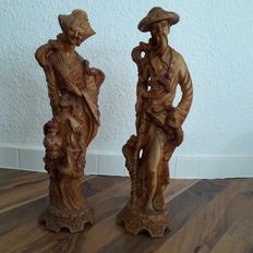 2 large and decorative Asian figures (male and female) - height: 34 cm/ 36 cm