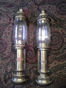 Two VDP brass train wagon candle sticks - copper, glass.
