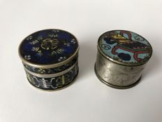 Two paktong and cloisonné opium boxes - China - late 19th century