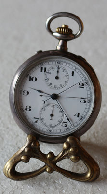 15 Swiss pocket watch - 0,935 silver - rattrapante (slave pointer) stopper around 1880