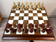 Onyx chess table, hand-carved chess pieces and table