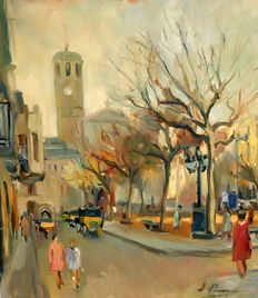 J. Piera (20th century) - Urban view of Barcelona