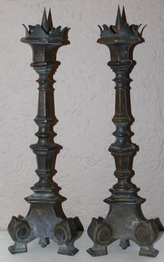 A couple of Flemish copper candlesticks - late 19th century