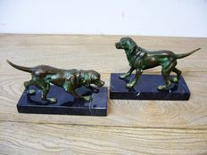 2 bronze figurines of hunting dogs.  England, first half 20th century