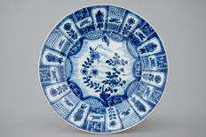 Large dish with a blue and white Wanli décor – China – 18th century (Kangxi period)