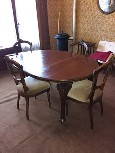 Dining set with 4 chairs - 1st half 20th century