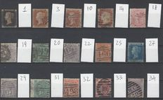 Great Britain, Queen Victoria 1840/1880 - Small collection on cards