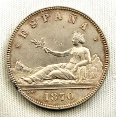 Spain – Provisional Government – Five pesetas silver coin. 1870. Madrid.