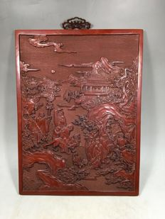 Carved laquer panel - China - late 20th century