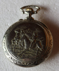 6 Doxa – pompous relief pocket watch – the wild horse race – around 1910