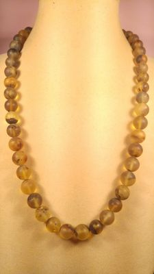 Genuine Green tint  Baltic amber necklace, polished and brushed beads, 47 gr