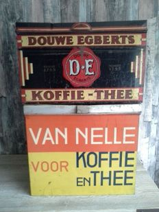 2 Shop tins - Douwe Egberts and van Nelle - Mid 20th century