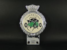Vintage Original Chrome JR Gaunt Silverstone Enamel and Chrome Auto Car Badge with Enamel Track Logo Centre