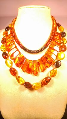 Genuine Baltic amber necklace, set of 3 pieces, 77 grams