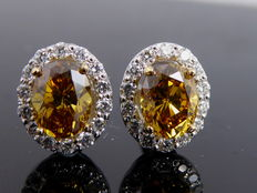 White 18 kt gold ear studs set with fancy diamonds & diamonds, 1.20 ct in total