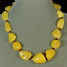 Baltic egg yolk yellow Amber necklace, 45 gram