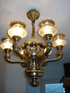 Robust brass chandelier with 6 lights - the Netherlands - ca. 1900