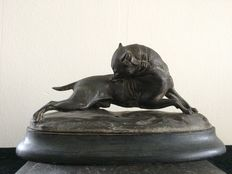 Picture of a dog in gnawing pose, after a sculpture of Joseph Victor CHEMIN (1825-1901)