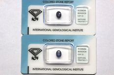 2 sapphires, total weight of 1.82 ct