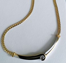 Necklace, yellow and white gold, 14 kt with 0.20 ct diamond, with certificate