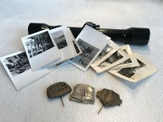 WW I and WW II - Lot of Gebirgsjäger1 rifle scope, badges and original photos of the advance infantry