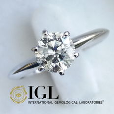 IGL 0.87 ct Round Brilliant Cut Diamond Engagement Solitaire Ring - size 51