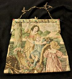 A french tapestry purse bag depicting a kids scene, circa 1900