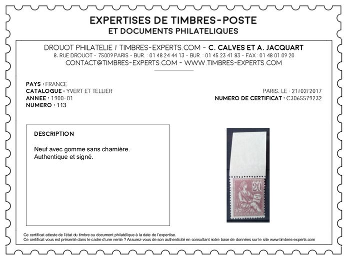 france 1862 1900 s lection de 2 timbres sign s calves 1 certificat num rique yvert n 26. Black Bedroom Furniture Sets. Home Design Ideas